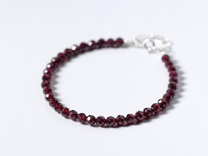 ( length,15CM-17.5cm) Real. 925 Sterling Silver Fine Jewelry 4MM natural Cute Red Garnet Stone Chain Bracelet GTLS496