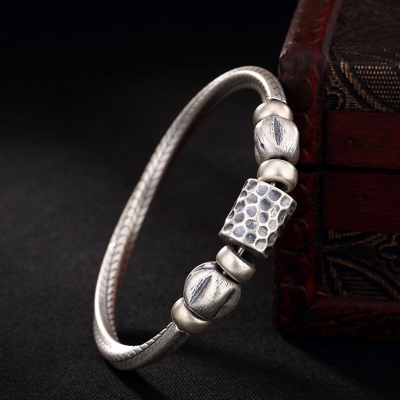 ms manual rotation silver exaggerated personality style restoring ancient ways is solid bracelet wholesale agents