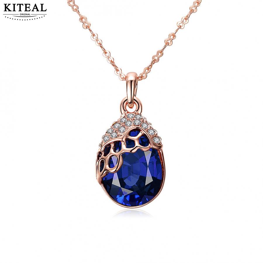 online shopping india  pendant necklace rose golden blue crystal zircon necklace for women 18inch chain choker Costume Jewellery