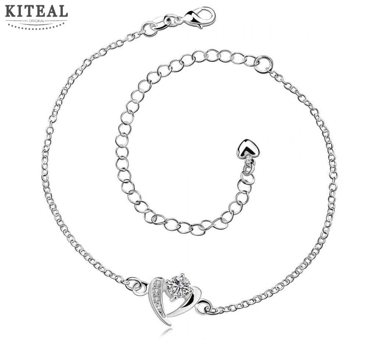 online shopping india silver bracelet anklets heart whites bracelet on ankle Jewelry European Style SMTA031