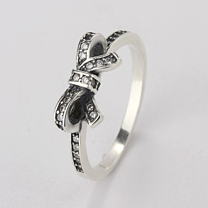 Sale Fashion jewelry jewelry Pave Setting charm Bow tie Compatible With pan 925 silver Retro woman Ring Ring