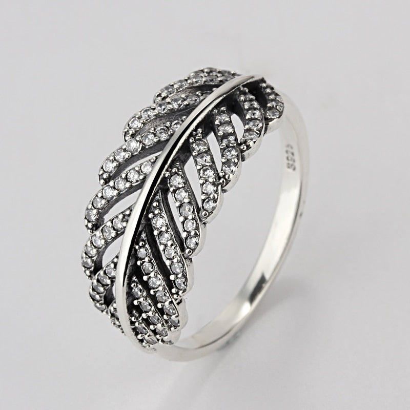 Sale Fashion jewelry jewelry Pave Setting charm leafs Compatible With 925 silver Retro woman Ring Ring