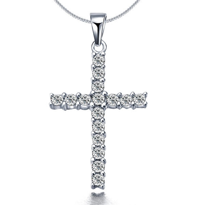 x307 Collier New Silver Plated Cross Pendant Necklaces for Women Fashion Long Necklaces Sweater Accessories Crystal Jewelry Hot