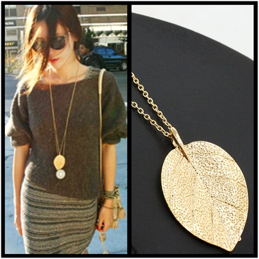x73 Fashion Jewelry Gold Color Leaf Pendant Necklace For Women Exquisite Long Necklace Korean Style Wholesale Sweater Chain Gift