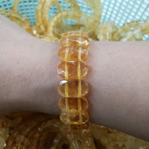 yellow citrine stone beads natural gemstone bangle for woman for gift birth stone for GEMINI !