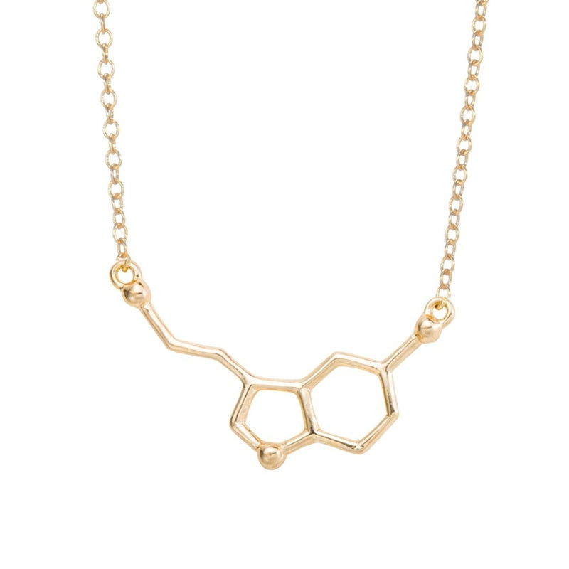 2017 Serotonin Molecule Pendants Necklaces For Women Chemistry Chokers Collar Elegant Simple Gold Silver Necklaces XL012