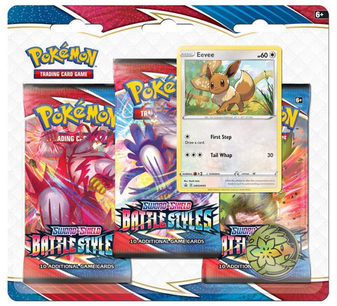 Pokemon TCG Sword and Shield - Battle Styles Three Booster Blister (Eevee)