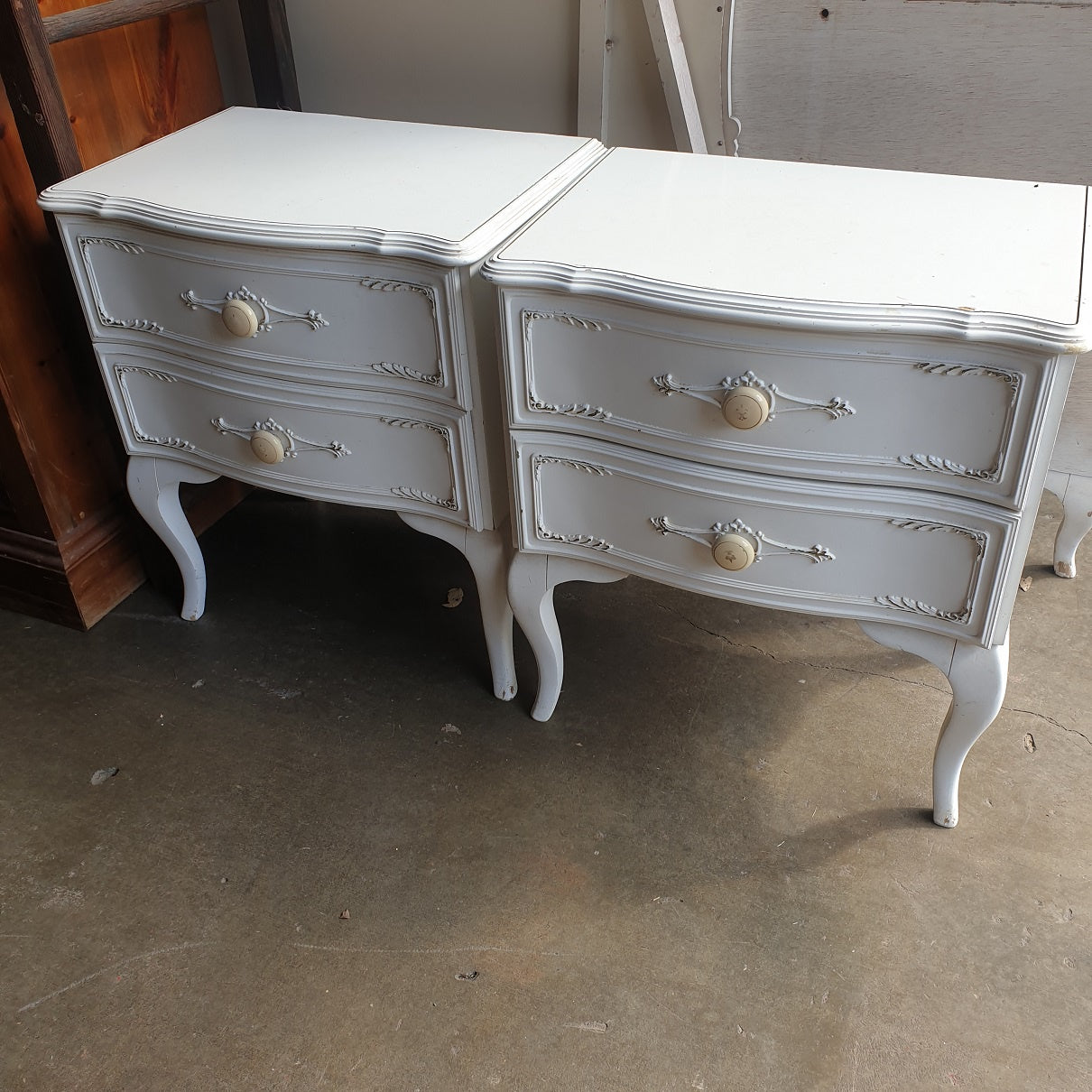 Two White Bedside Tables