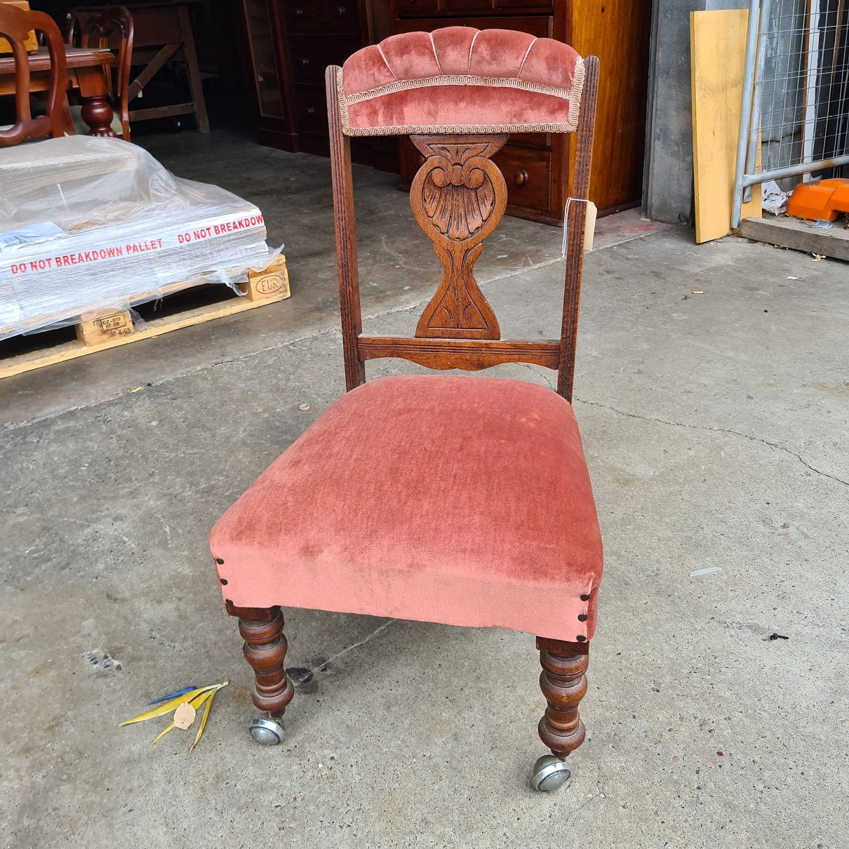 Silky Oak Pink Chair with Wheels