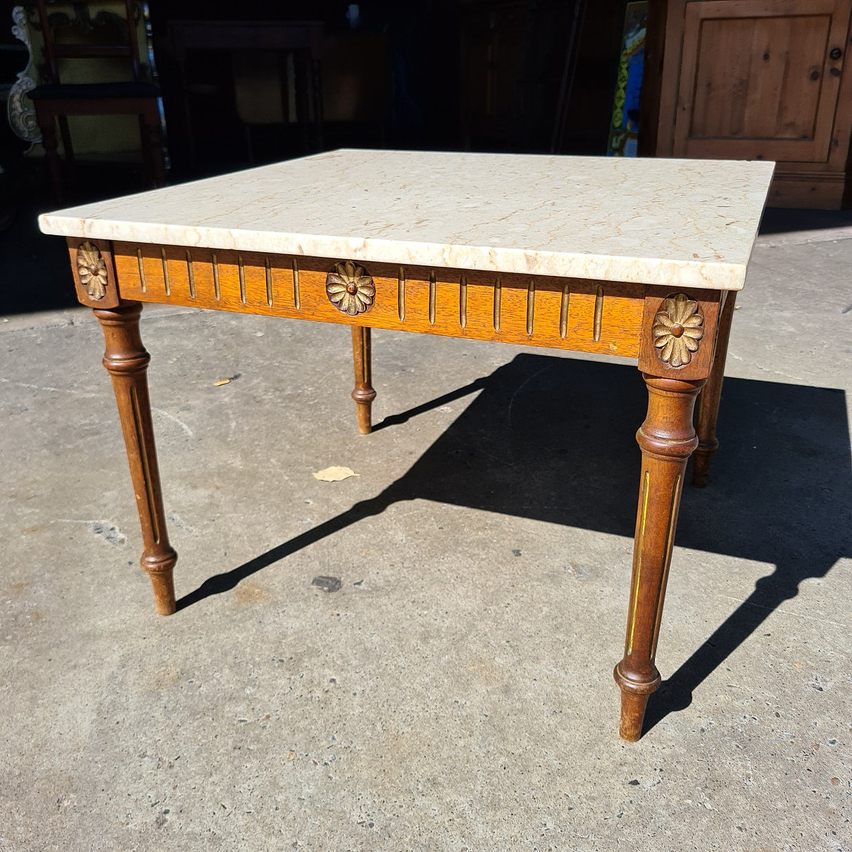 Antique Oak and Marble Square Table