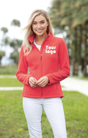 Custom Embroidered Ladies Fleece Jacket - Midweight Fleece for everyday wear - 4in x 4in Embroidery