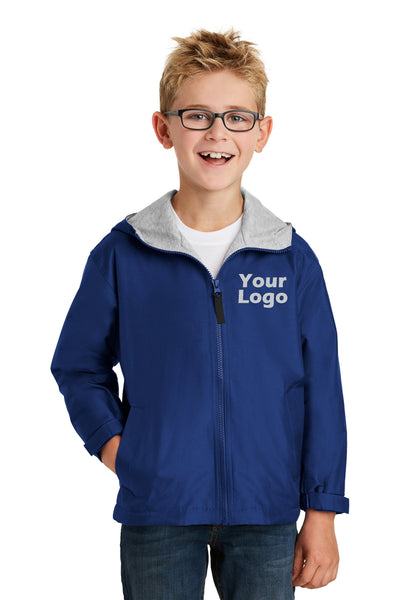 Custom Embroider Youth Team Jacket - Nylon Wind and Water Resistant Outer Shell with Comfy Sweatshirt Fabric Body and Hood Lining