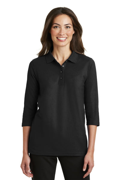 Custom Embroidery on L562 Port Authority Ladies Silk Touch 3/4-Sleeve Polo