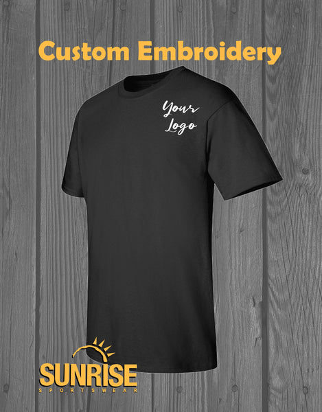 Custom Embroidery on Gildan 2000 T-Shirt - 4in x 4in Embroidery Included - Personalized Gift
