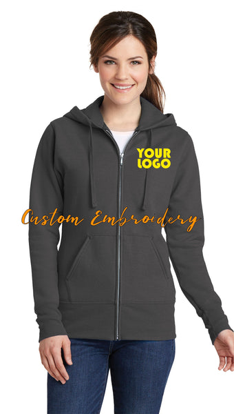 Custom Embroidered Ladies Zip Up Hoodie Sweater Jacket - Includes one 4in x 4in Embroidery - Custom Logo, Text, or Monogram - Personalized