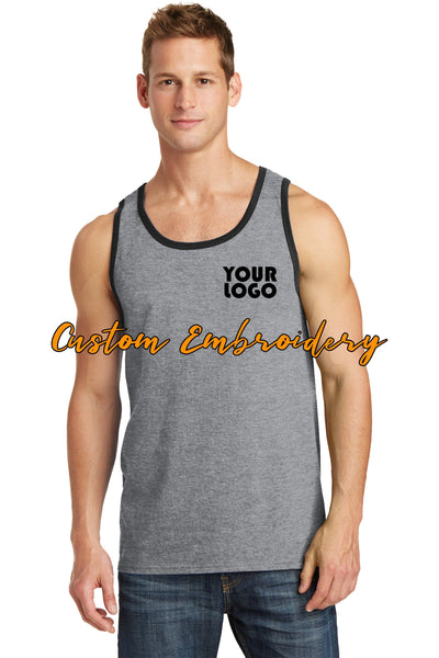 Custom Embroidery on Core Cotton Tank Top - Includes one 4in x 4in Embroidery- No Setup - Personalized Tank Top