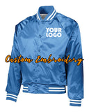 Custom Embroidered Satin Baseball Jacket Striped Trim - Bomber Jacket with 4in x 4in Embroidery Included - No Setup