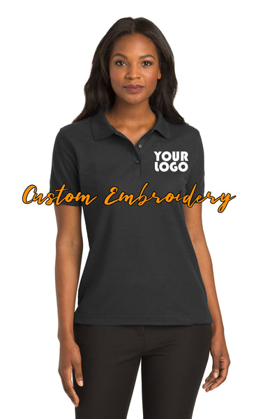 Custom Embroidery on Ladies Silk Touch Polo - 4in x 4in Embroidery Included - No Setup - No Minimum