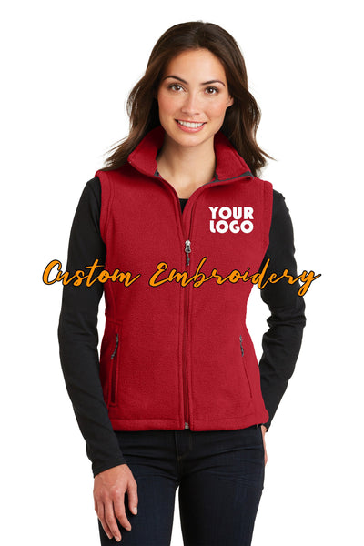 Custom Embroidery on Ladies Fleece Vest - Includes one 4in x 4in Embroidery - No Setup - No Minimums