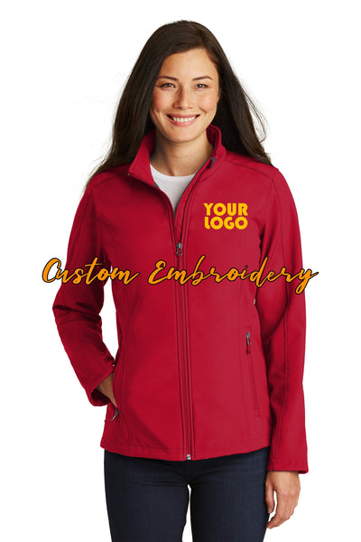 Custom Embroidery on Ladies Core Soft Shell Jacket
