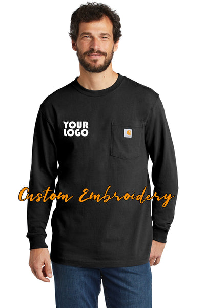 Custom Embroidered Carhartt Workwear Pocket Long Sleeve T-Shirt - Includes 4in x 4in Embroidery - No Setup