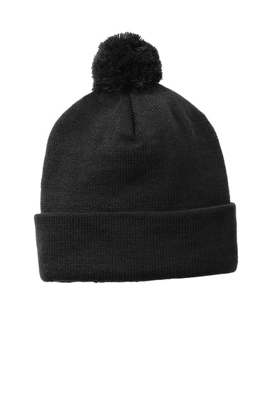 Custom Embroidered Pom Pom Beanies - Includes 4in Wide x 2in High Embroidery on the front of the beanie