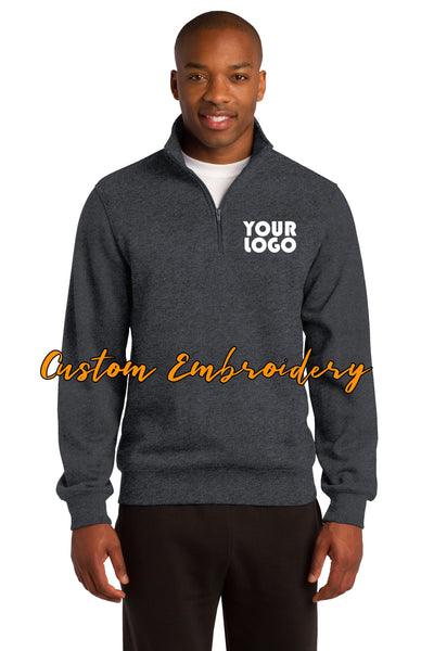 Custom Embroidered Men's Quarter 1/4 Zip  Sweatshirt - Includes 4in x 4in Embroidery - Personalized Men's Sweater