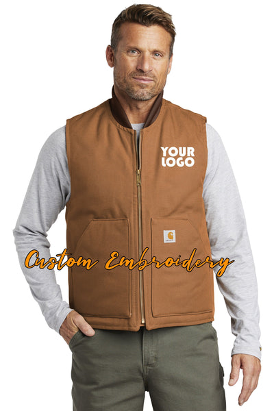 Custom Embroidered Carhartt Duck Vest - Includes 4in x 4in Embroidery - No Setup - Personalize your Carhartt Duck Vest with your Logo