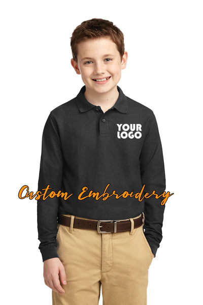 Custom Embroidered Youth Silk Touch Polo - Long Sleeve - Includes 4in x 4in embroidery - No Setup - Long Sleeve Polo