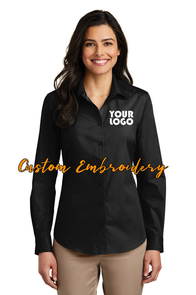 Custom Embroidery on Ladies Long Sleeve Carefree Poplin Button-Up Shirt - Includes 4in x 4in Embroidery - No Setup - Personalize Shirt