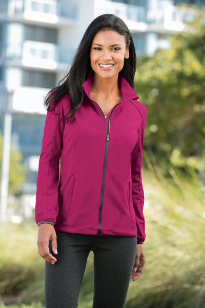 Custom Embroidered Ladies Active Soft Shell Jacket - Includes one 4in x 4in Embroidery - No Setup - Personalize your Jacket with your Logo