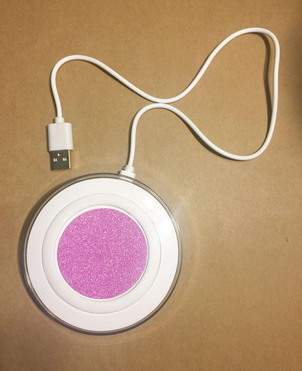 Qi Wireless Charger White With Pink Glitter Charging Pad For Apple and Samsung