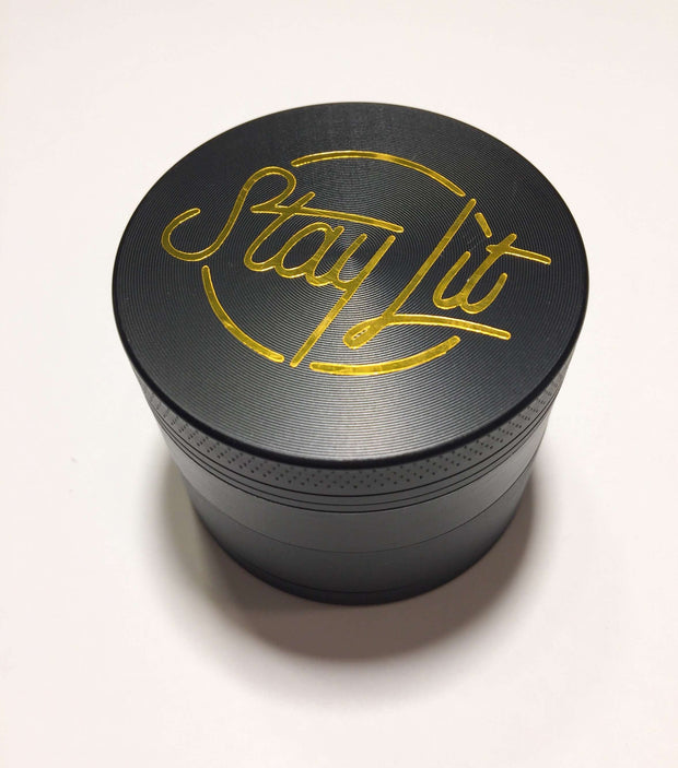 Herb Grinder Gold Foil StayLit Custom Black Spice Grinder 4 Piece 50mm W/ Cleaning Tool