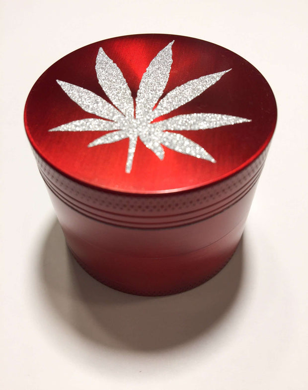 Herb Grinder Silver Weed Leaf Glitter Custom Red Spice Grinder 4 Piece 50mm W/ Cleaning Tool