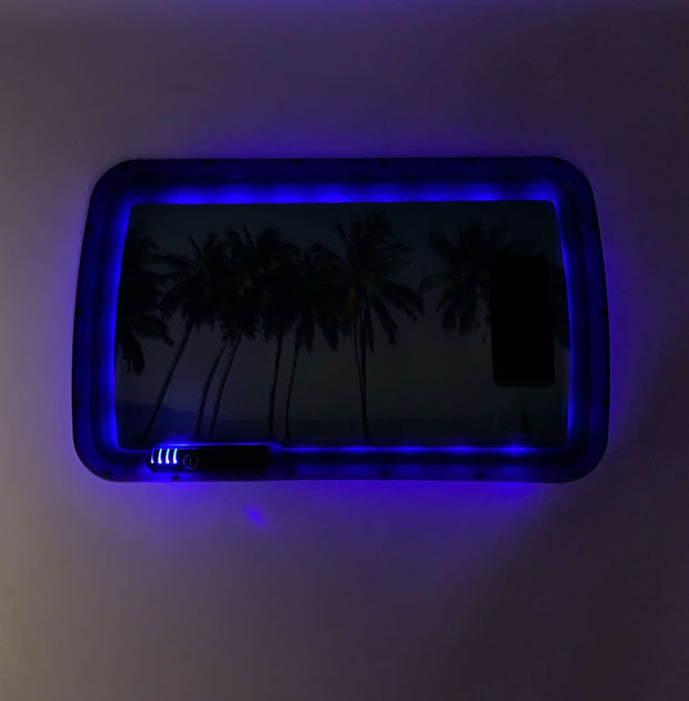 California Palm Trees LED Rolling Tray Featuring 7 Colors and Party Mode