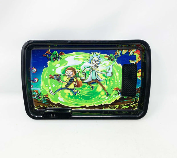 Rick n Morty Wormhole Attack LED Rolling Tray Featuring 7 Colors and Party Mode