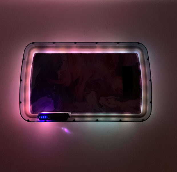 Purple Pink Marble LED Rolling Tray Featuring 7 Colors and Party Mode