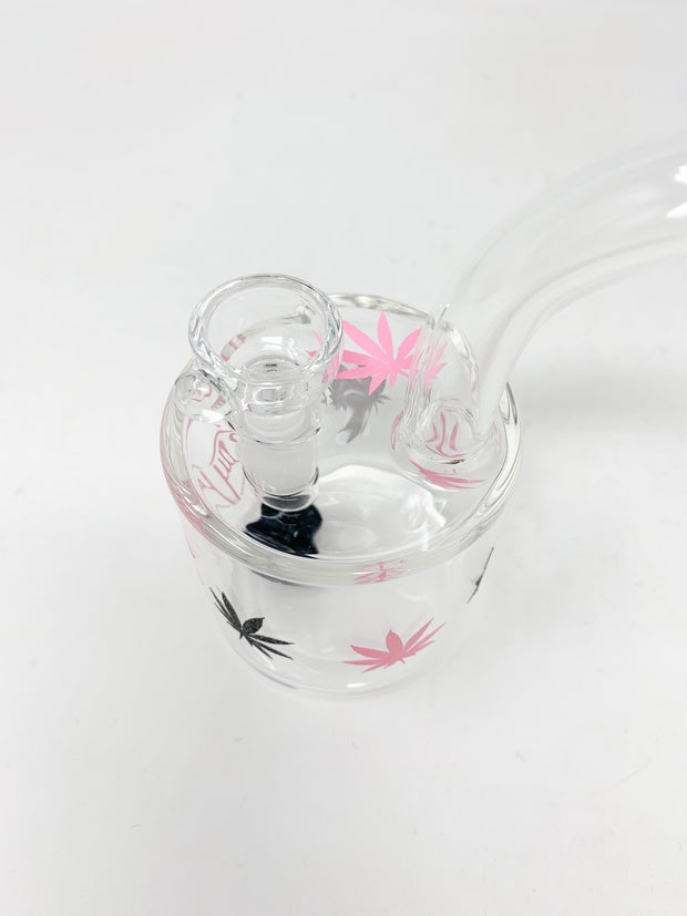 Pink StayLit Glitter Weed Leaves 6in Barrell Glass Water Pipe/Dab Rig