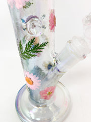Iridescent StayLit 12in Floral Beaker Glass Water Pipe/Bong