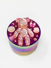 Rainbow Herb Grinder BearBrick Glitter Custom 4 Piece 55mm W/ Cleaning Tool