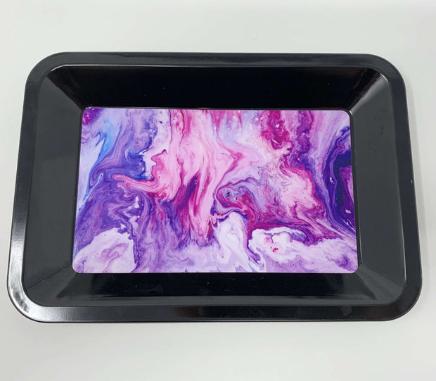Pink Purple Marble Weed Rolling Tray