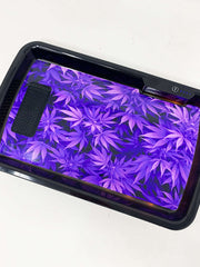 Purple Cannabis Leaves LED Rolling Tray Featuring 7 Colors and Party Mode