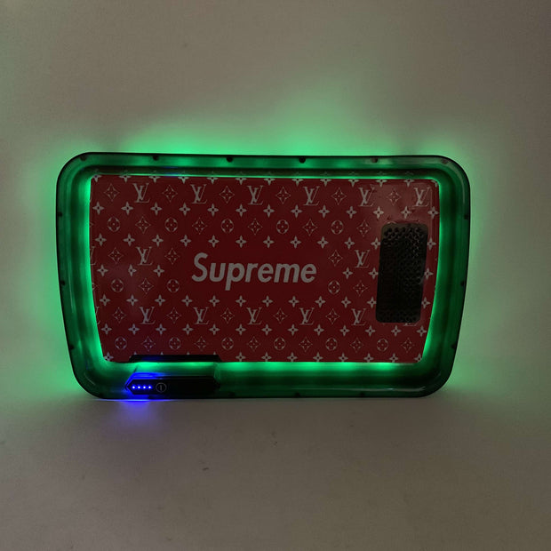 Red SUPLV LED Rolling Tray Featuring 7 Colors and Party Mode