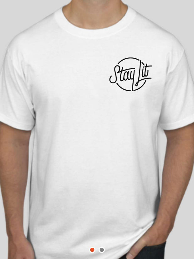 StayLit White and Black Logo T-Shirt