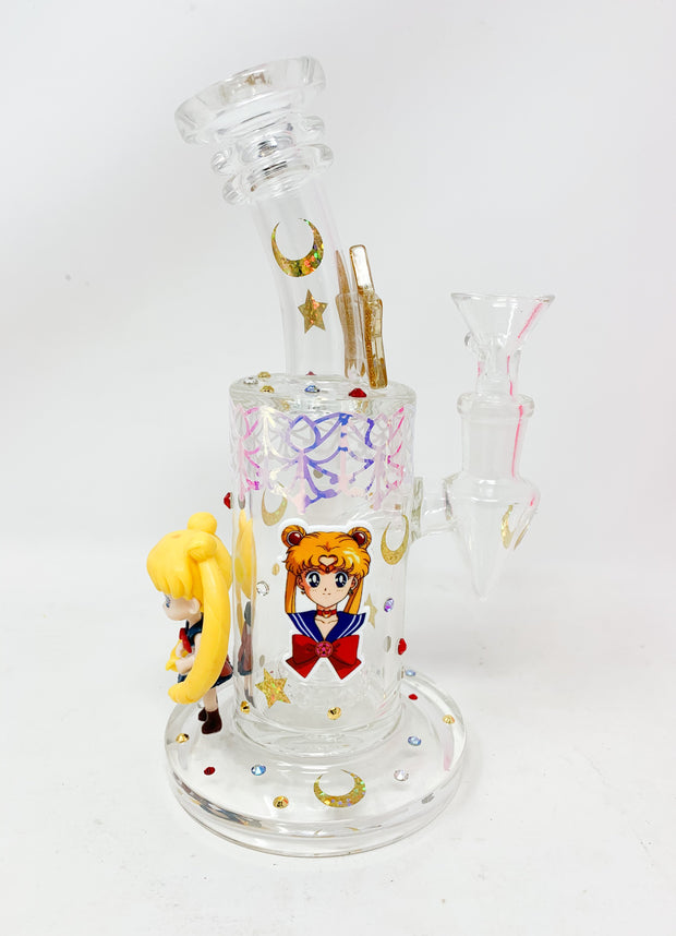 Sailor Moon Doll Swarovski Crystal Water Hand Pipe/Dab Rig