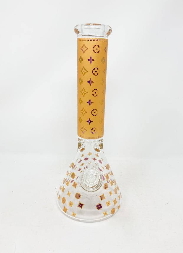 Gold Frosted Chameleon LV Pattern Beaker Glass Water Pipe 13in