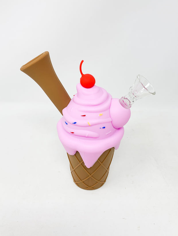 Pink Silicone Ice Cream Cone Water Pipe/Bong