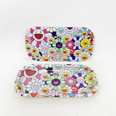 Smiley Flowers Magnetic Rolling Tray with Lid