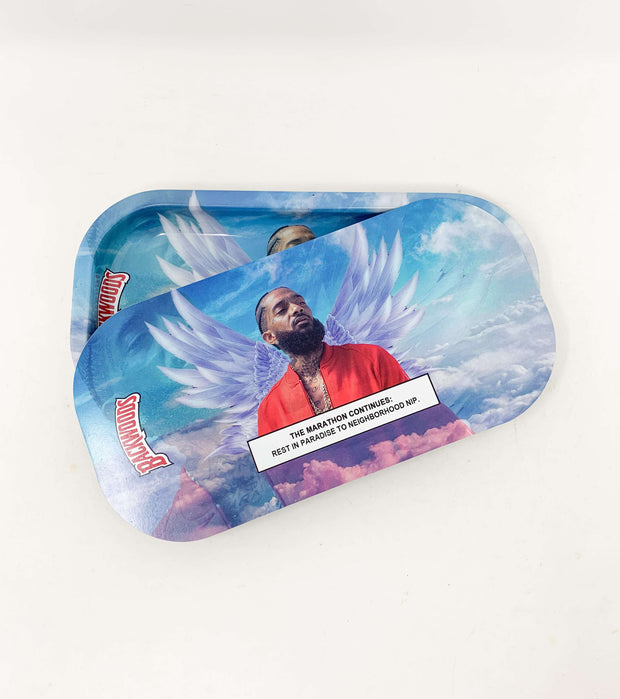 Backwoods Nipsey Hustle Angel Blue Magnetic Rolling Tray with Lid