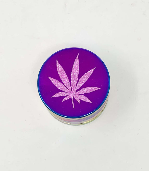 Rainbow Herb Grinder Pink Weed Leaf Glitter Custom 4 Piece 55mm W/ Cleaning Tool